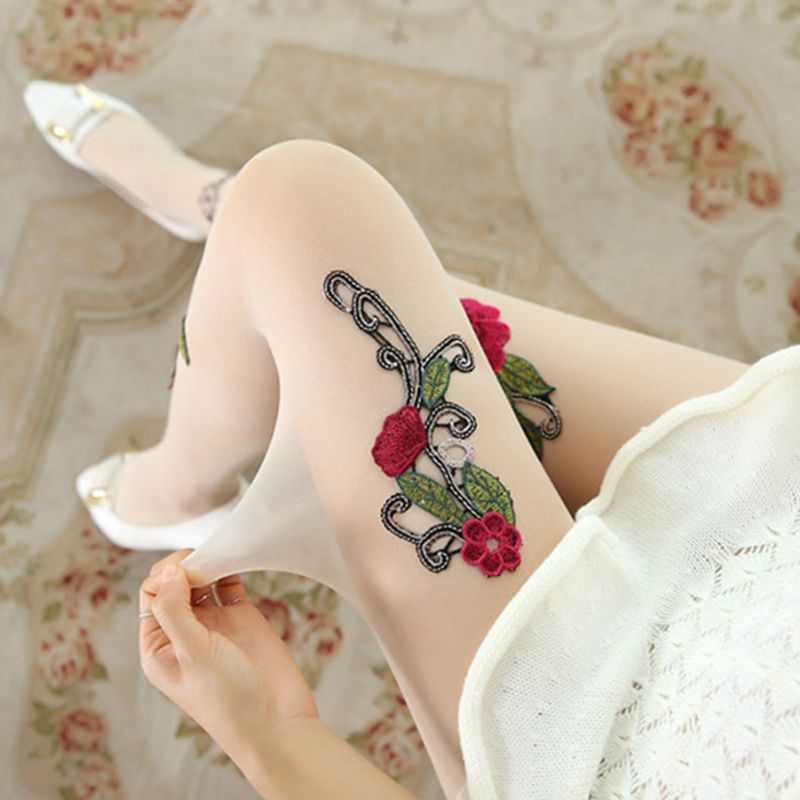 High-quality-Women-039-s-Sexy-High-Waist-Tight-Flower-Embroidery-Stockings-ling-W1L6 thumbnail 17
