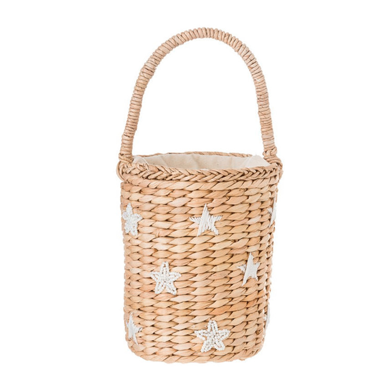 Portable Bucket Woven Bag Totes Embroidery Face Straw Bag Summer Vacation B N8S2
