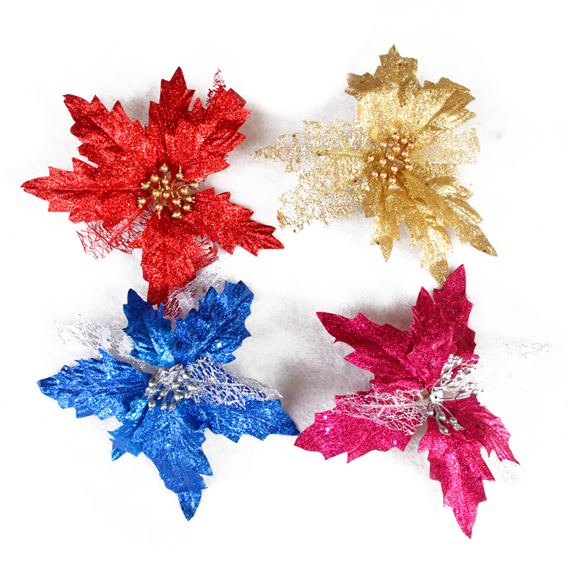 Glitter-Poinsettia-Christmas-Tree-Ornaments-Artificial-Flower-Wedding-Party-B8B5 thumbnail 7