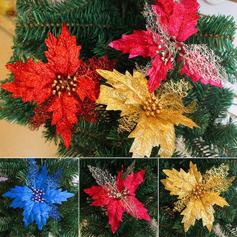 Glitter-Poinsettia-Christmas-Tree-Ornaments-Artificial-Flower-Wedding-Party-B8B5 thumbnail 15
