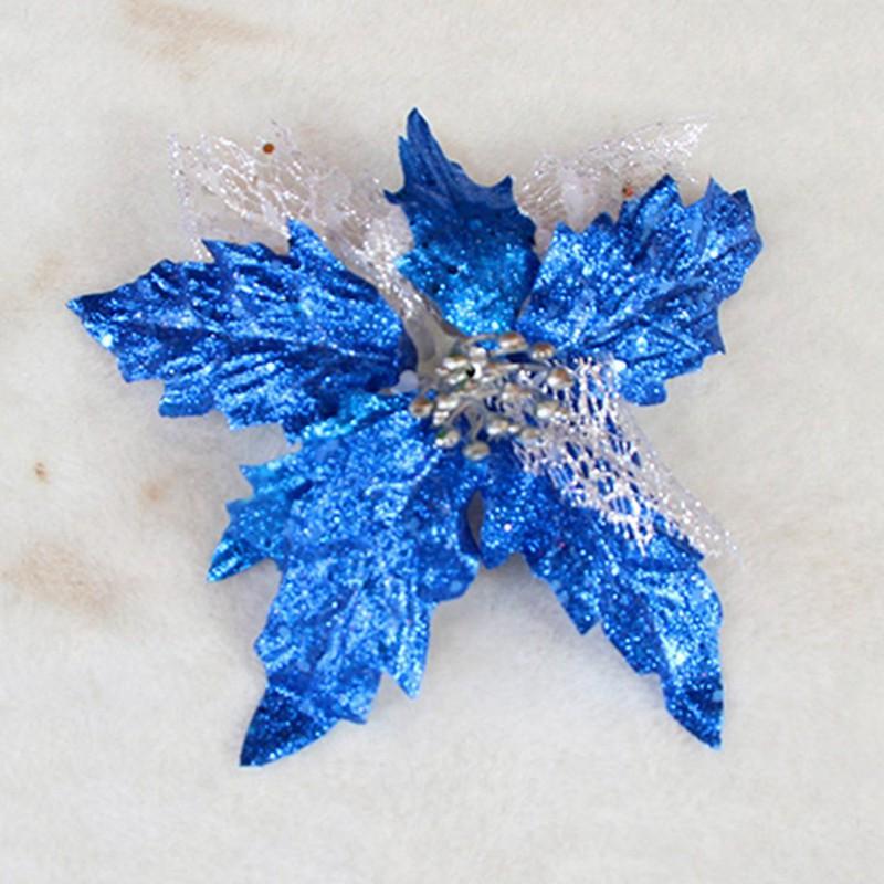 Glitter-Poinsettia-Christmas-Tree-Ornaments-Artificial-Flower-Wedding-Party-B8B5 thumbnail 18