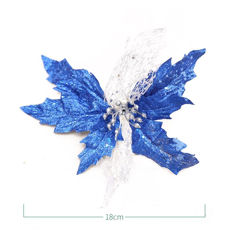 Glitter-Poinsettia-Christmas-Tree-Ornaments-Artificial-Flower-Wedding-Party-B8B5 thumbnail 20