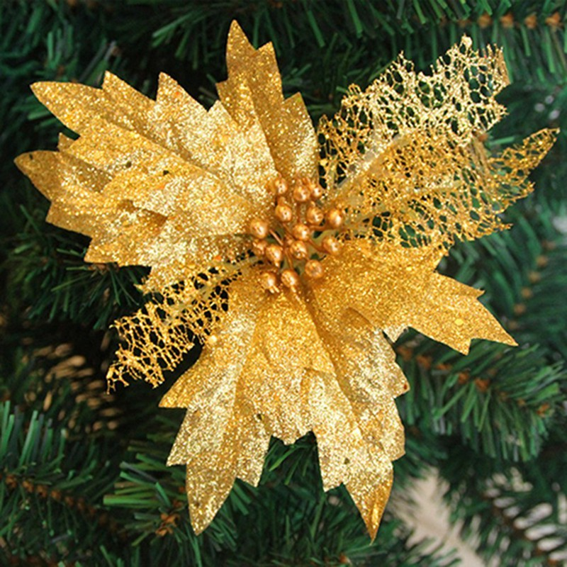 Gold Glitter Poinsettia Christmas Tree Ornaments Artificial Flower Wedding N6r6