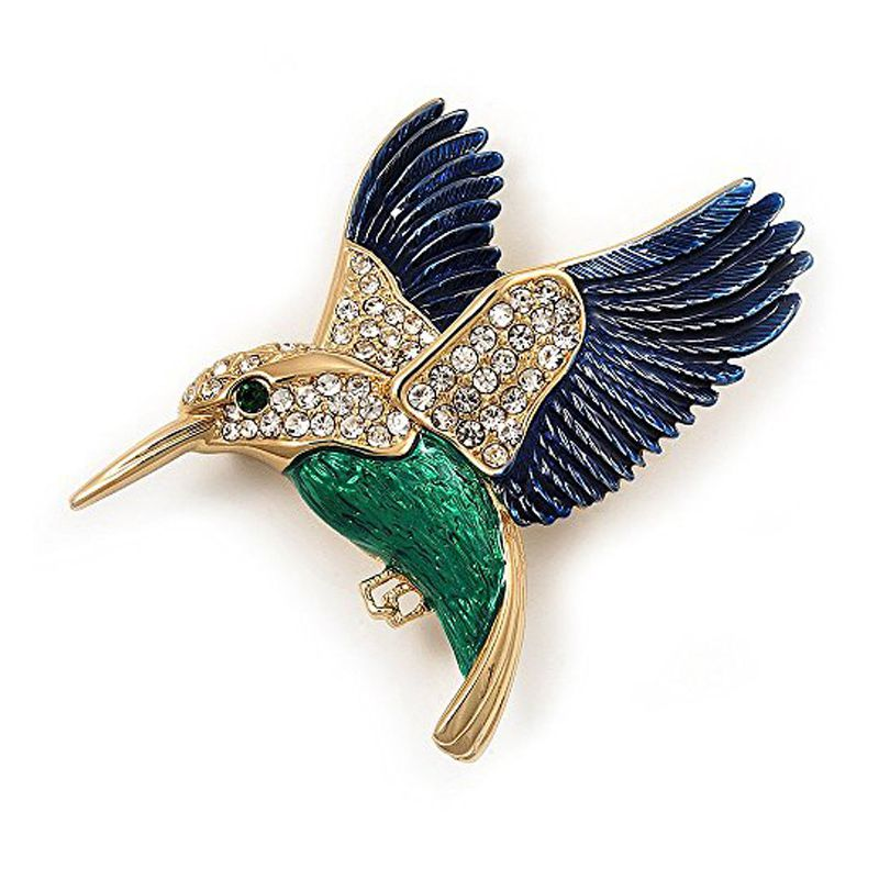Dark blue+green alloy woodpecker Brooch In Personal temperament wild T7M8