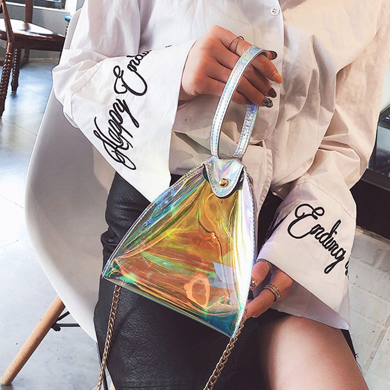 cdf400223dd 2X(Femmes Mode PVC transparent Hologramme sac a main triangulaire ...