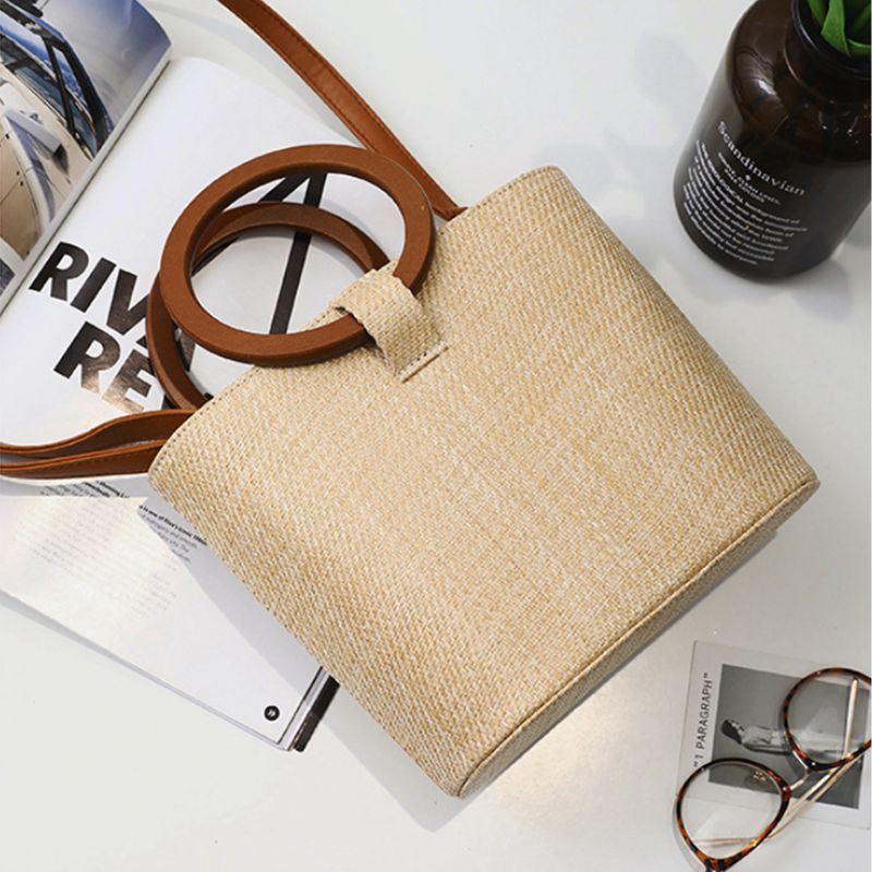 df2b1d0312f2 Women s Solid Straw Bucket Bag Tote Handbags Shoulder Bags Big Handbags Top  I2N7. MATERIAL - Straw DIMENSIONS - 11.81 x 4.33 x 8.66 inch (LxWxH)   Handle ...