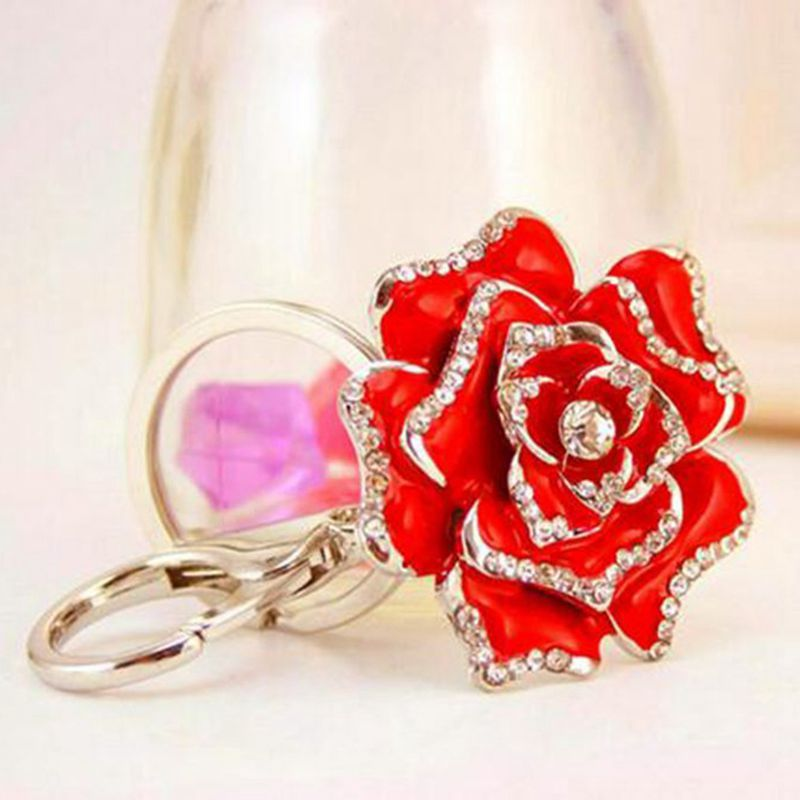 Rose-Shape-Crystal-Keychain-Key-Chain-Sparkling-Key-Ring-Charm-Purse-Pendan-Y2U5 thumbnail 2