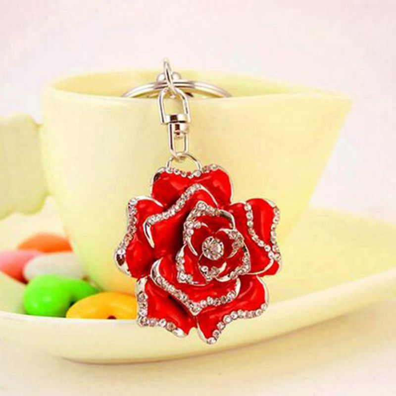Rose-Shape-Crystal-Keychain-Key-Chain-Sparkling-Key-Ring-Charm-Purse-Pendan-Y2U5 thumbnail 3