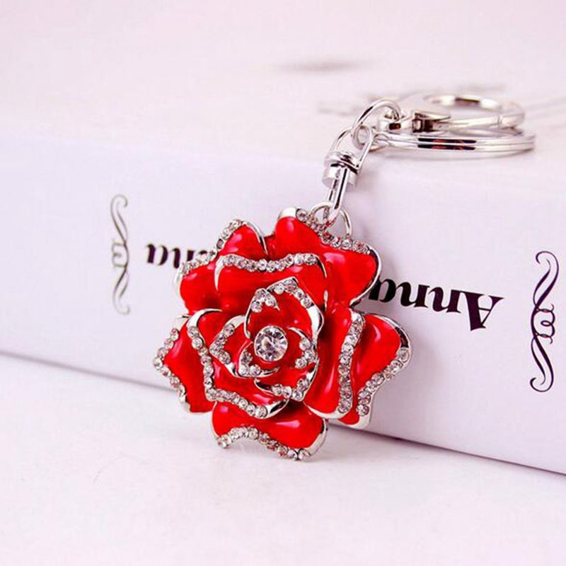Rose-Shape-Crystal-Keychain-Key-Chain-Sparkling-Key-Ring-Charm-Purse-Pendan-Y2U5 thumbnail 4