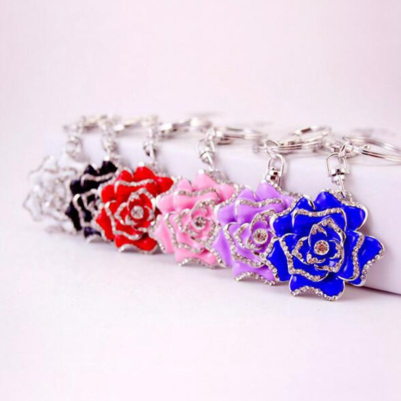 Rose-Shape-Crystal-Keychain-Key-Chain-Sparkling-Key-Ring-Charm-Purse-Pendan-Y2U5 thumbnail 6