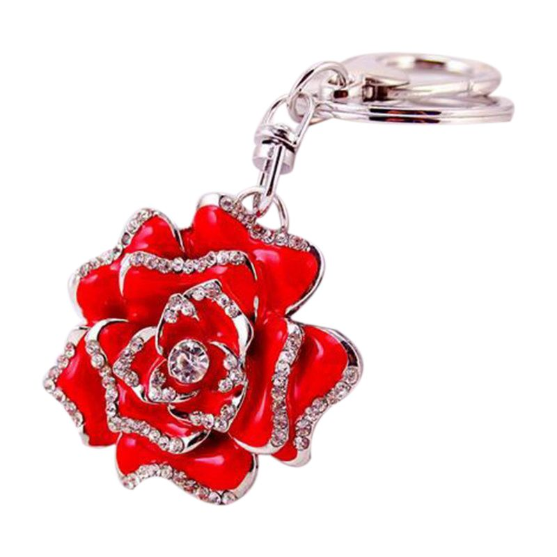 Rose-Shape-Crystal-Keychain-Key-Chain-Sparkling-Key-Ring-Charm-Purse-Pendan-Y2U5