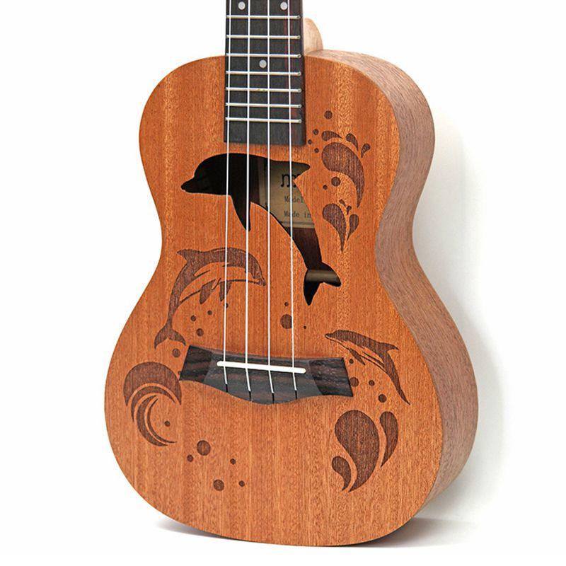 Ukulele-Uke-4-Corde-in-nylon-Sapele-in-palissandro-chitarra-Dolphin-modello-D9G9 miniatura 3