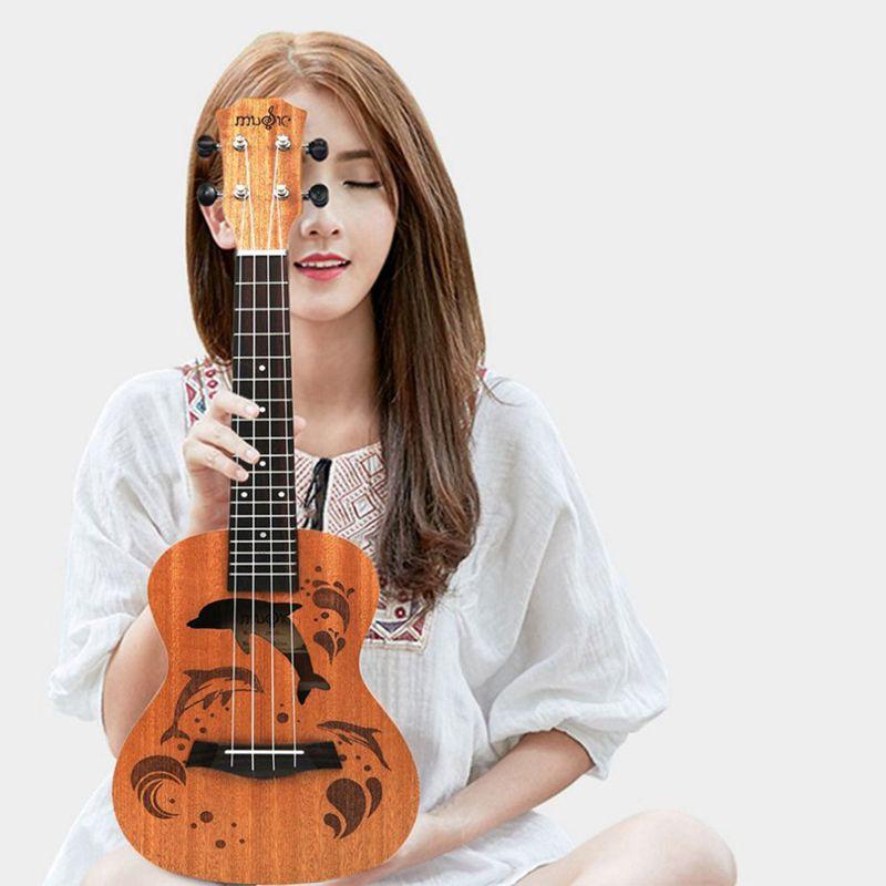 Ukulele-Uke-4-Corde-in-nylon-Sapele-in-palissandro-chitarra-Dolphin-modello-D9G9 miniatura 5