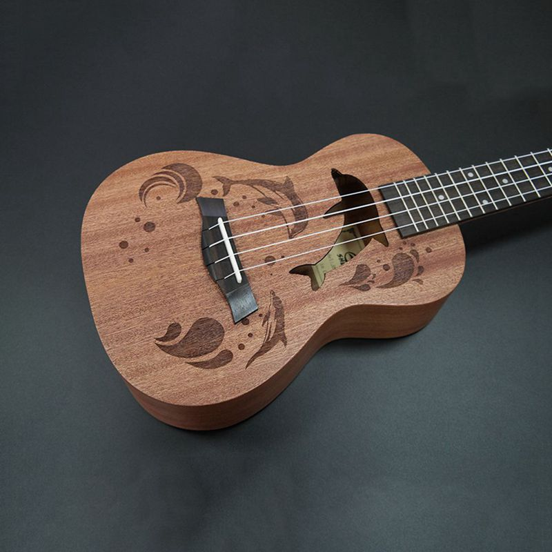 Ukulele-Uke-4-Corde-in-nylon-Sapele-in-palissandro-chitarra-Dolphin-modello-D9G9 miniatura 7