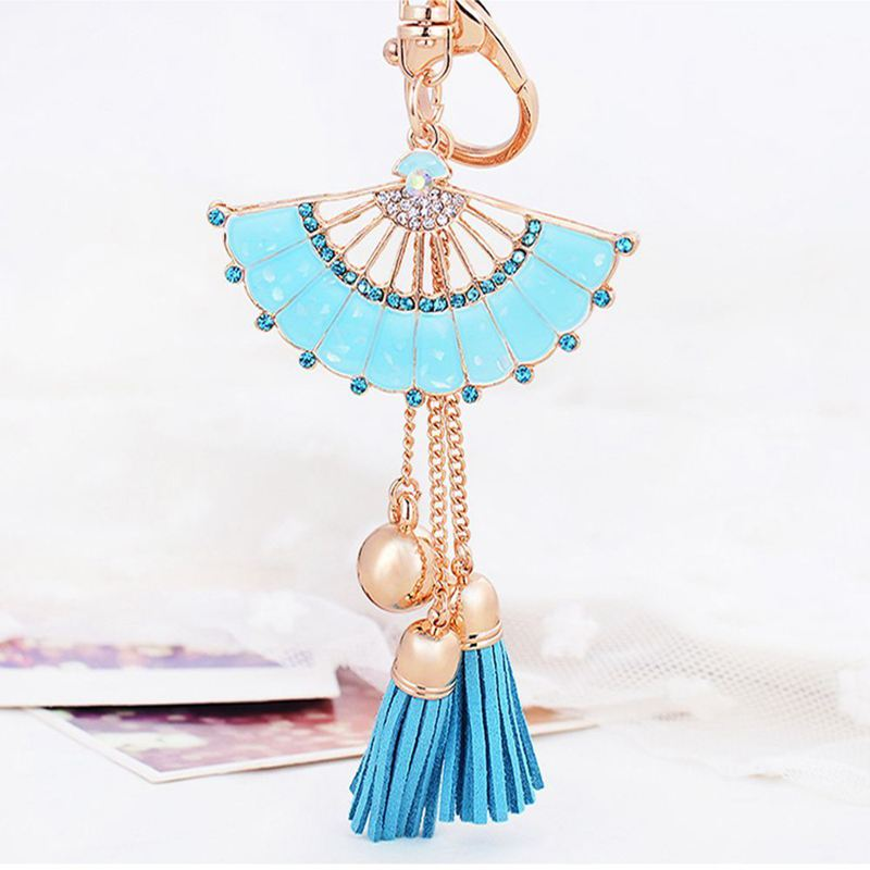 Key-Holder-Car-Key-Chain-Rhinestone-Enamel-Fan-Tassel-Keychain-U5L6 thumbnail 3
