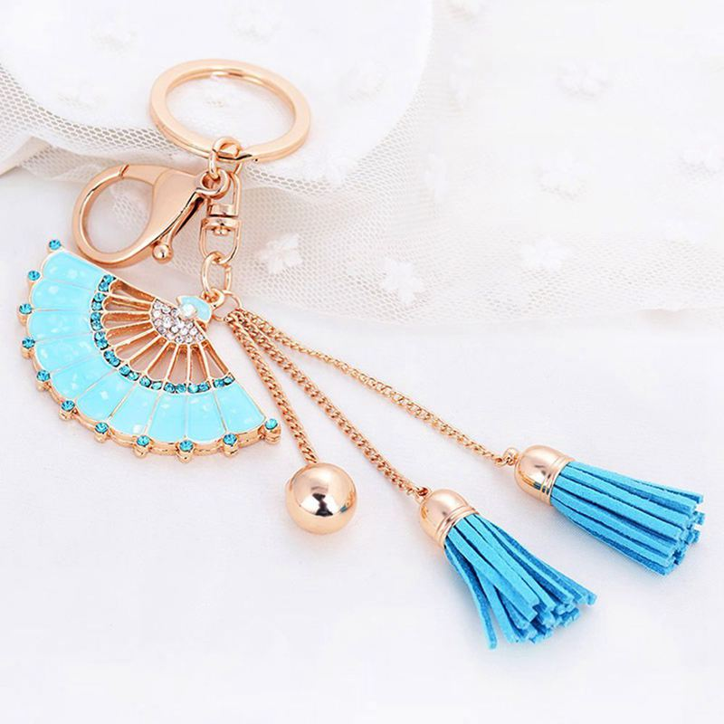 Key-Holder-Car-Key-Chain-Rhinestone-Enamel-Fan-Tassel-Keychain-U5L6 thumbnail 4