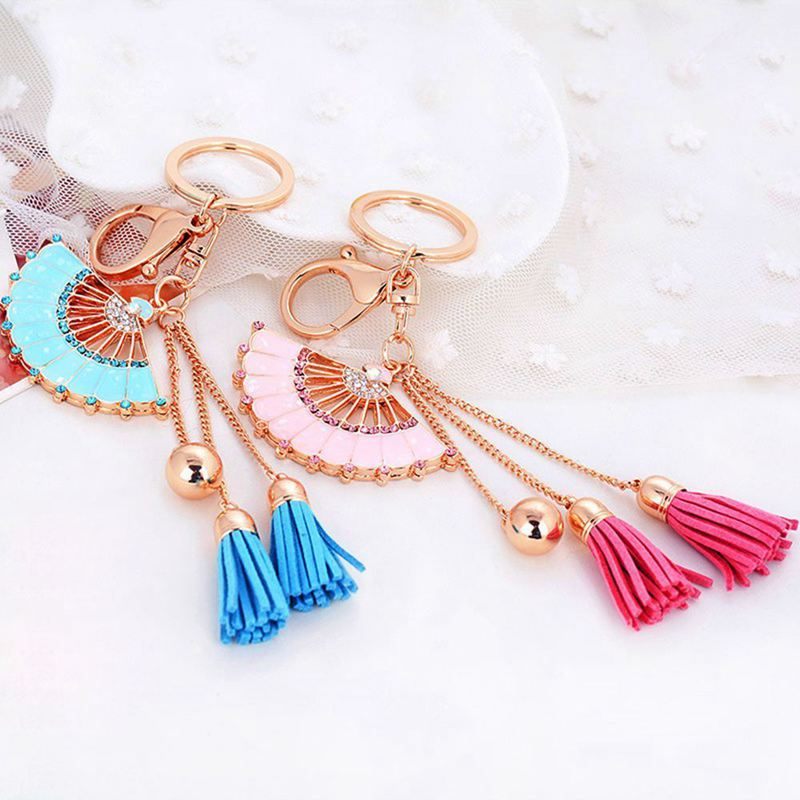 Key-Holder-Car-Key-Chain-Rhinestone-Enamel-Fan-Tassel-Keychain-U5L6 thumbnail 5