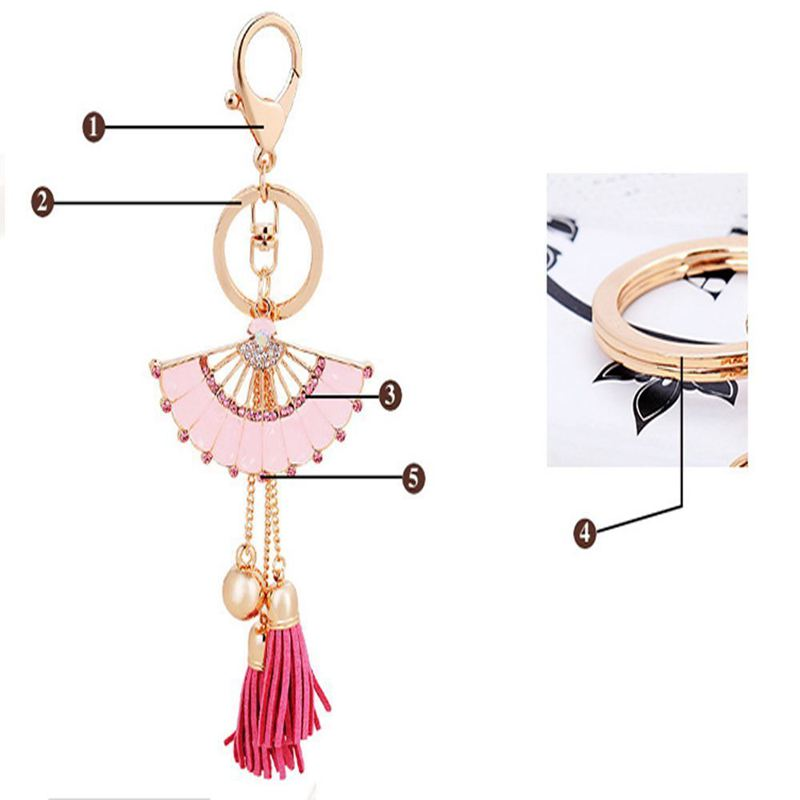 Key-Holder-Car-Key-Chain-Rhinestone-Enamel-Fan-Tassel-Keychain-U5L6 thumbnail 7