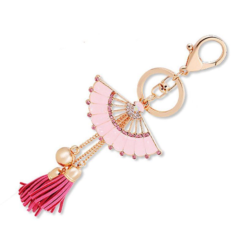 Key-Holder-Car-Key-Chain-Rhinestone-Enamel-Fan-Tassel-Keychain-U5L6 thumbnail 8