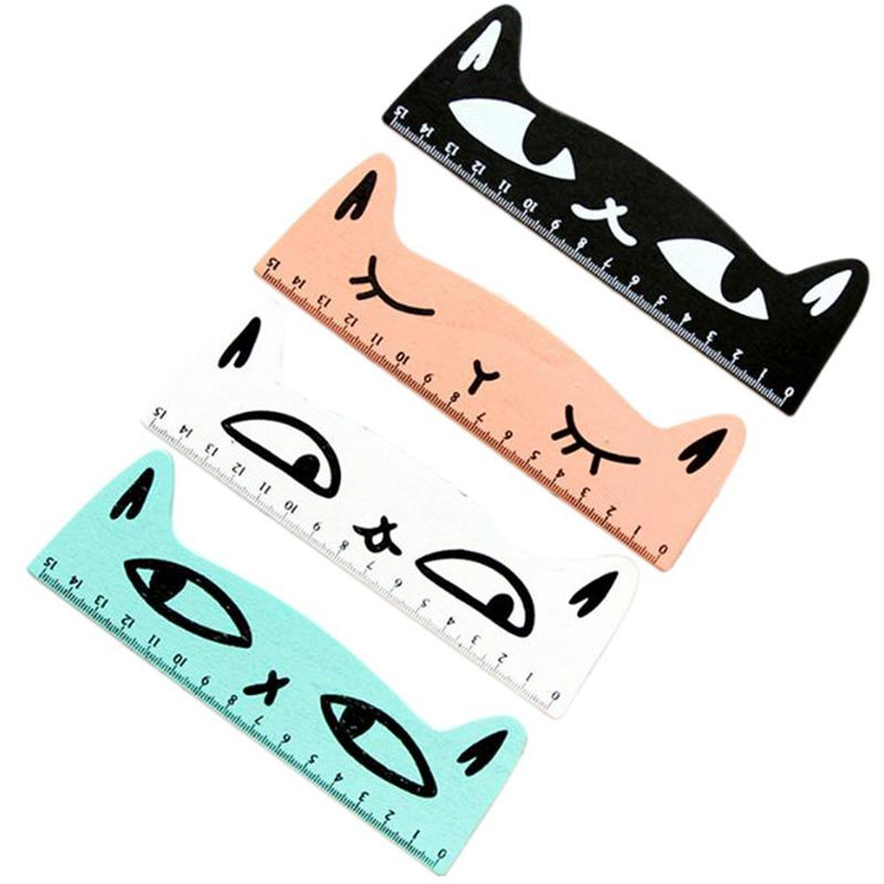 4 Pcs Wooden ruler Ruler with Kawaii pattern of chat Sewing ruler ...