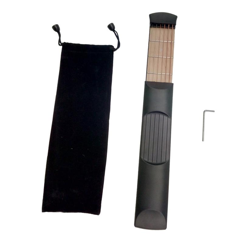 1X-Schwarz-6-Zeichenfolge-6-Bund-Protable-Tasche-Gitarre-ueben-Werkzeug-GerM7P4