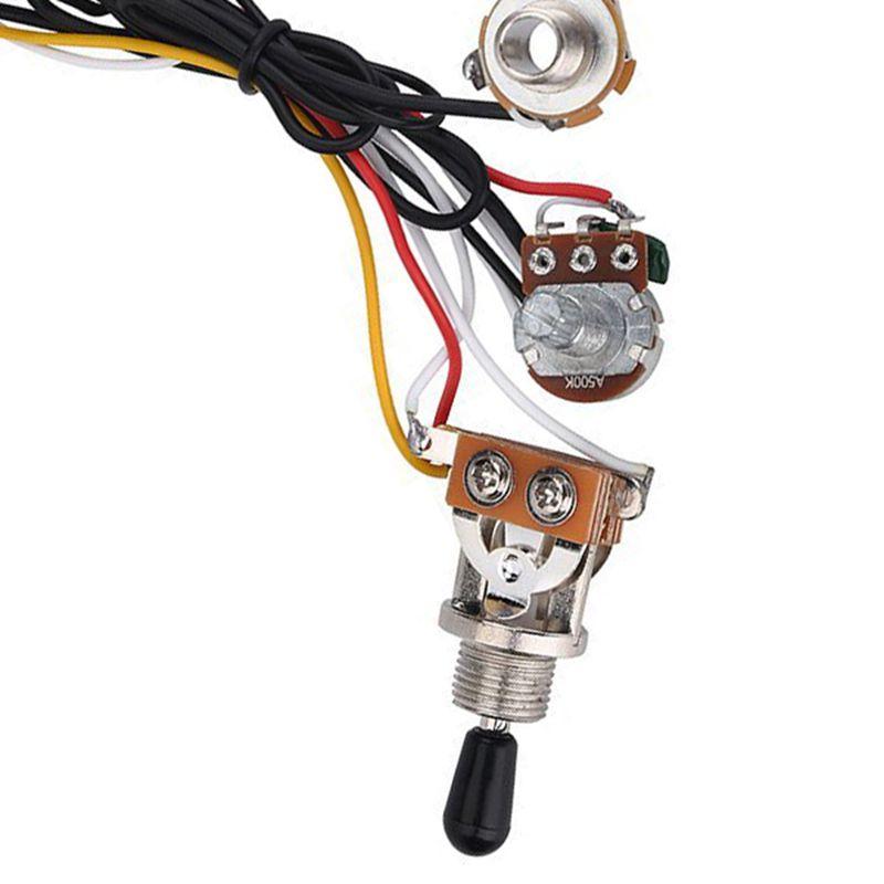 electric guitar wiring harness kit 3 way toggle switch 2 volume 1 tone 500k c8g8 192948015434 ebay. Black Bedroom Furniture Sets. Home Design Ideas