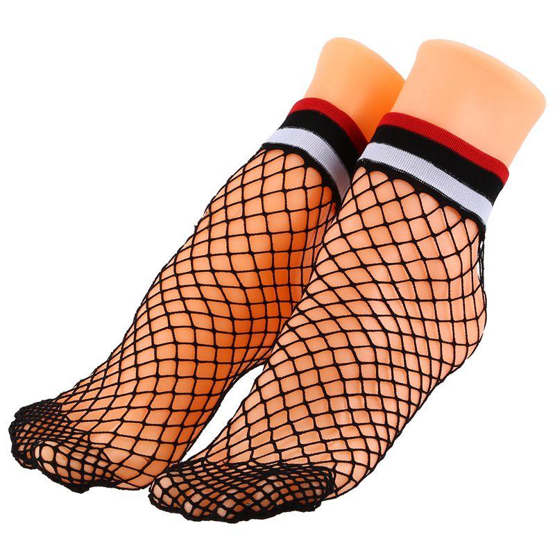 1 Paar Sommer Frauen Streifen Fischnetz Socken Weibliche Schwarz Mesh Netze K 2I