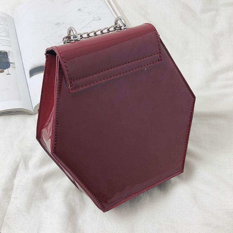 Fashion-Hexagonal-Damen-Tasche-Ketten-Mini-Handtaschen-Leder-Damen-Schulter-W8W4 Indexbild 3