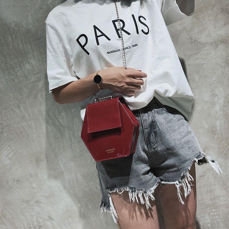 Fashion-Hexagonal-Damen-Tasche-Ketten-Mini-Handtaschen-Leder-Damen-Schulter-W8W4 Indexbild 4