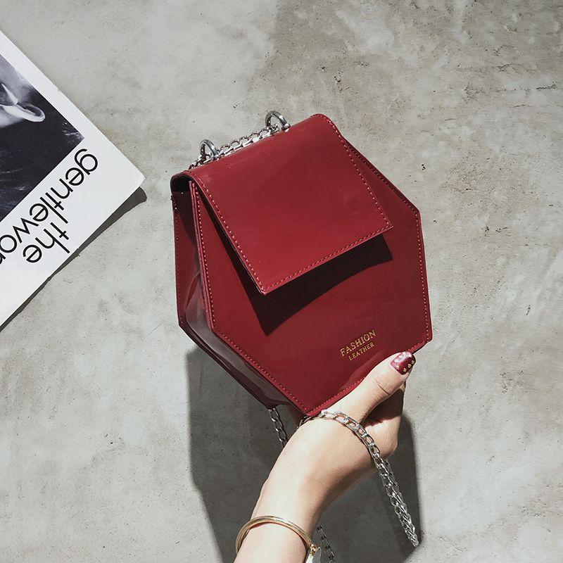 Fashion-Hexagonal-Damen-Tasche-Ketten-Mini-Handtaschen-Leder-Damen-Schulter-W8W4 Indexbild 5