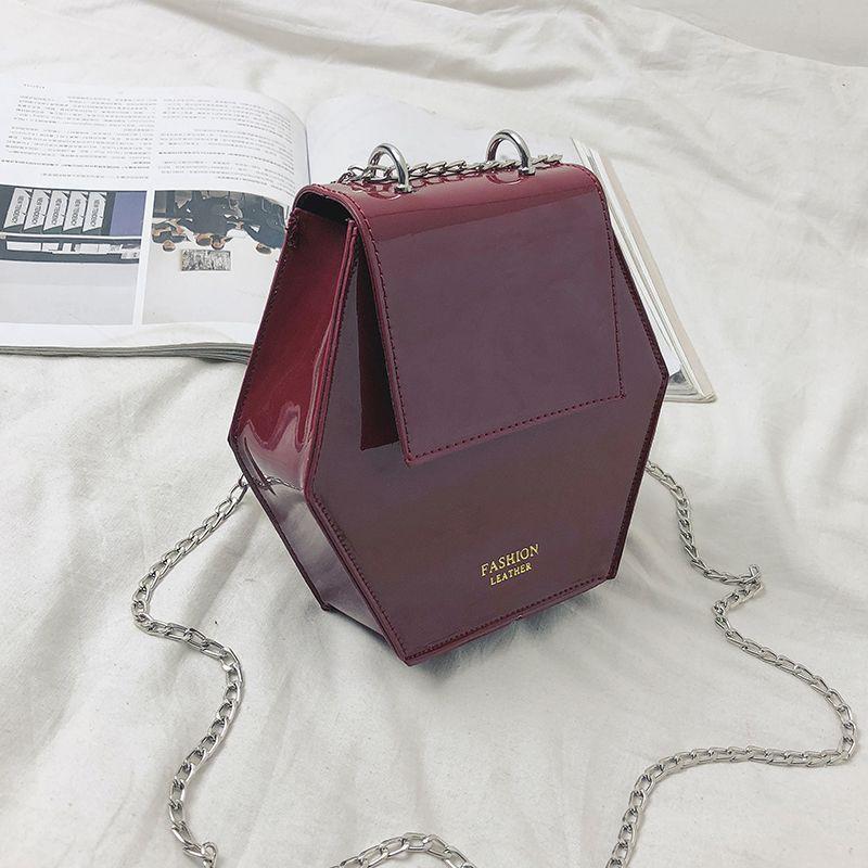 Fashion-Hexagonal-Damen-Tasche-Ketten-Mini-Handtaschen-Leder-Damen-Schulter-W8W4 Indexbild 9
