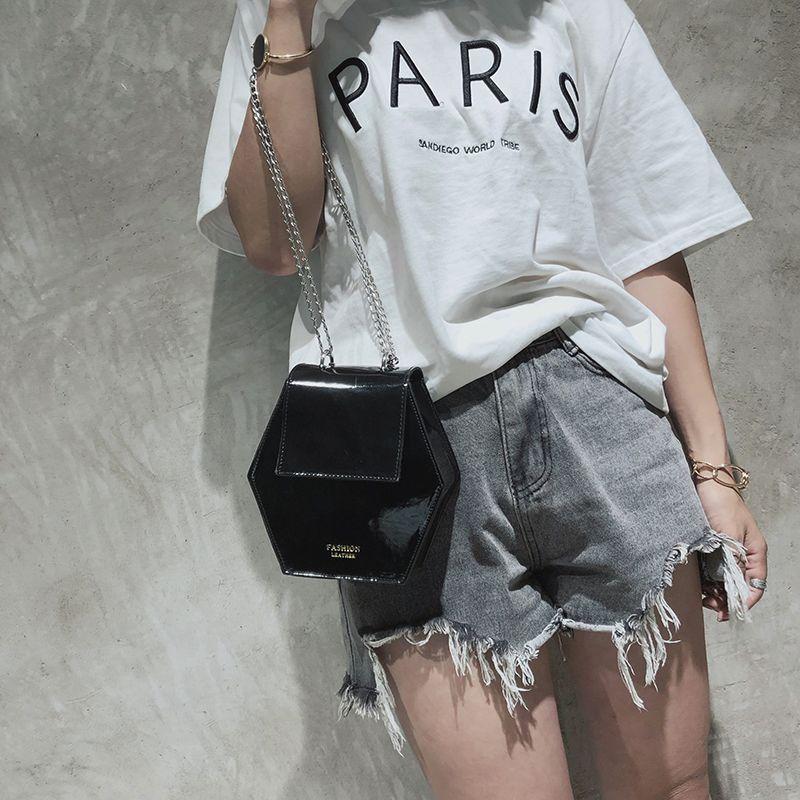 Fashion-Hexagonal-Damen-Tasche-Ketten-Mini-Handtaschen-Leder-Damen-Schulter-W8W4 Indexbild 13