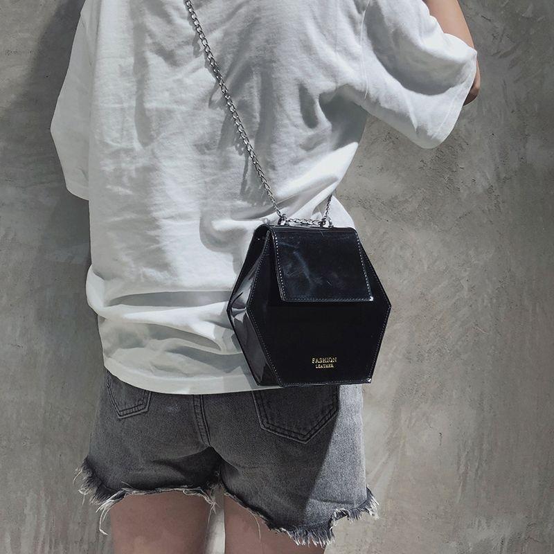 Fashion-Hexagonal-Damen-Tasche-Ketten-Mini-Handtaschen-Leder-Damen-Schulter-W8W4 Indexbild 14