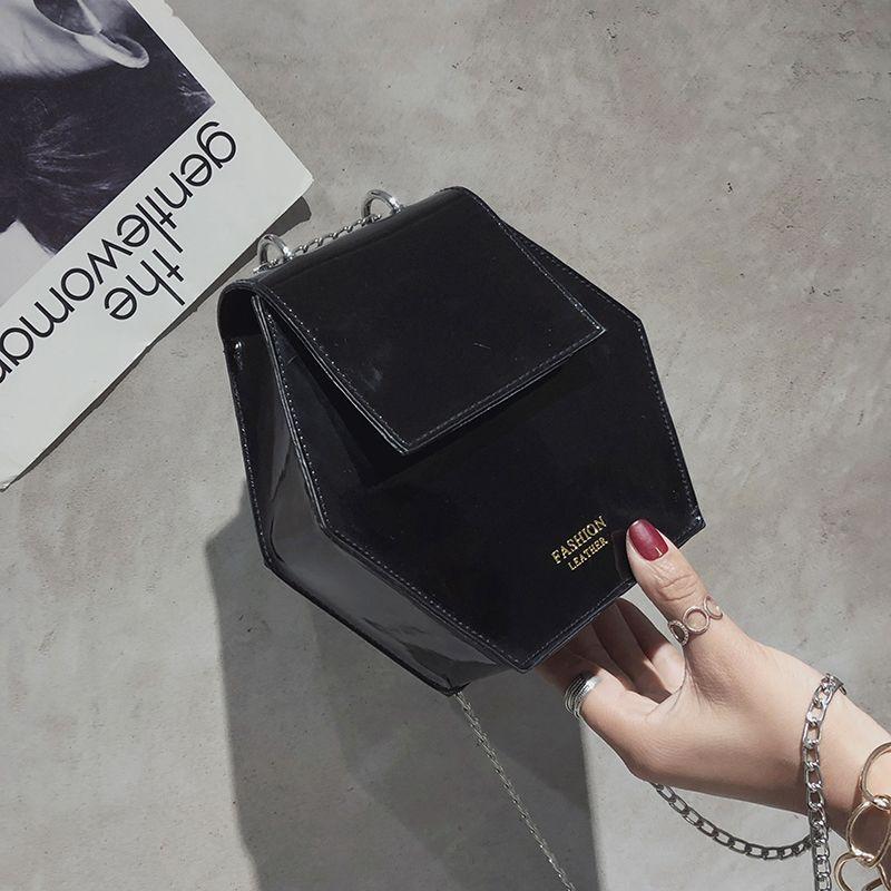 Fashion-Hexagonal-Damen-Tasche-Ketten-Mini-Handtaschen-Leder-Damen-Schulter-W8W4 Indexbild 15