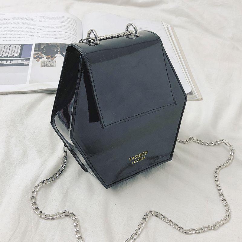 Fashion-Hexagonal-Damen-Tasche-Ketten-Mini-Handtaschen-Leder-Damen-Schulter-W8W4 Indexbild 16