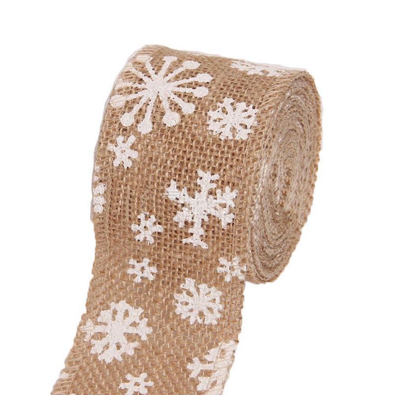 Ruban Rouleau en lin Vintage Decoration Motif flocon de neige Ruban Artisan Z1S1