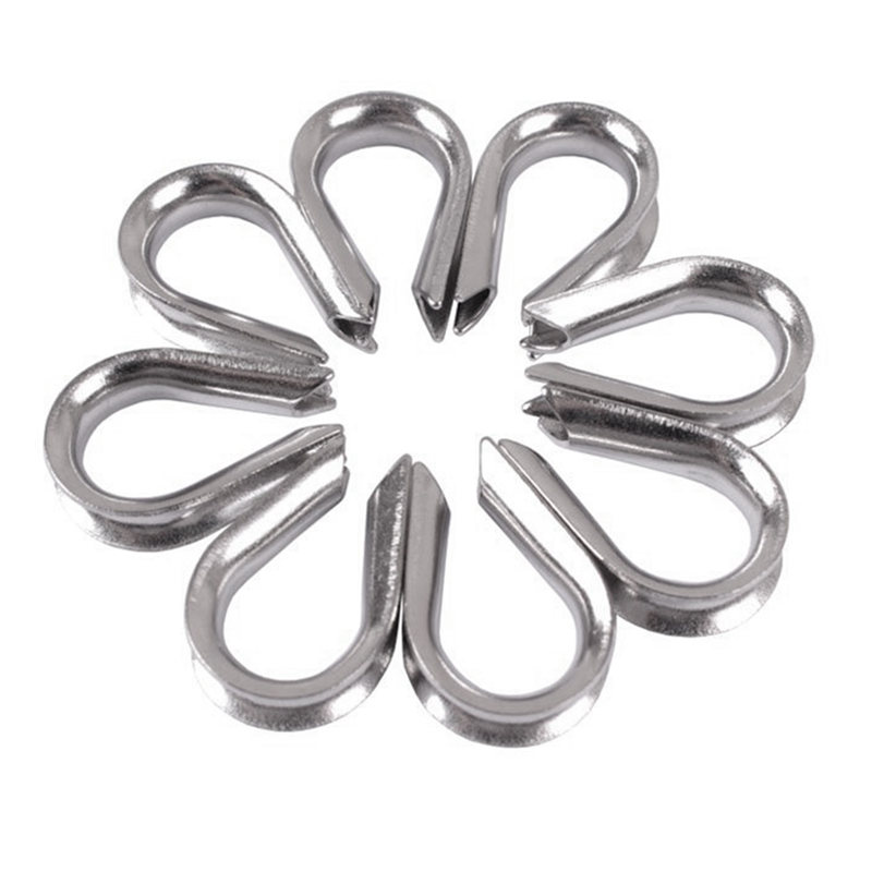 4 x Stainless Steel - 3mm Wire rope loop Rope Thimbles D7N2 ...
