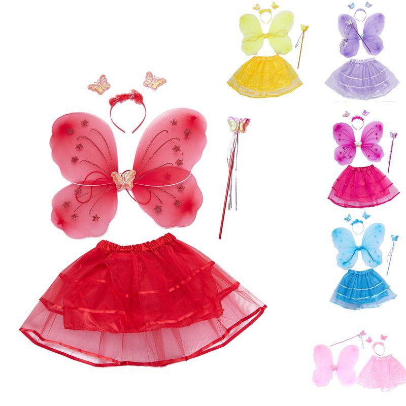 chica 4 unids grupo princesa brillo mariposa partido traje alas ...