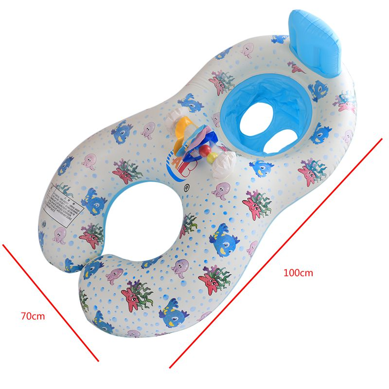 Safe-Soft-Inflatable-Mother-amp-Baby-Swim-Float-Ring-Kids-Seat-Double-Person-Sw-H7V7 miniature 4