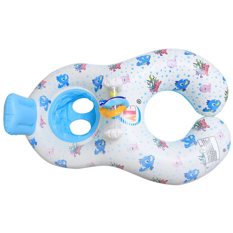 Safe-Soft-Inflatable-Mother-amp-Baby-Swim-Float-Ring-Kids-Seat-Double-Person-Sw-H7V7 miniature 5
