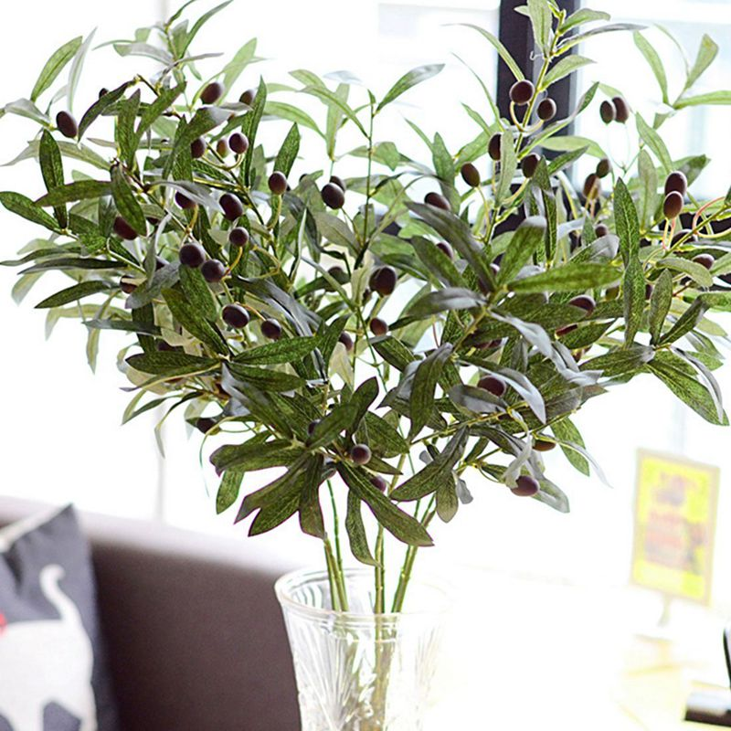 Details About Artificial Olive Leaf Green Plants Fruits Branches Fake Leaves Home Decor J4p3