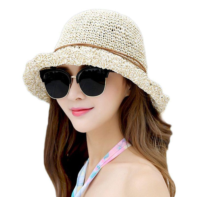 676f6c0fc1a Sun Hat Bucket Girls Lady Beach Straw Hat Summer Sun Protection ...