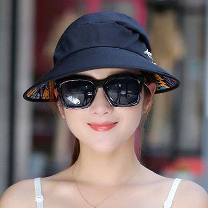1X-Chapeau-de-soleil-Chapeau-de-plage-pliable-pour-dames-Chapeau-de-visiere-D2M9 miniature 11