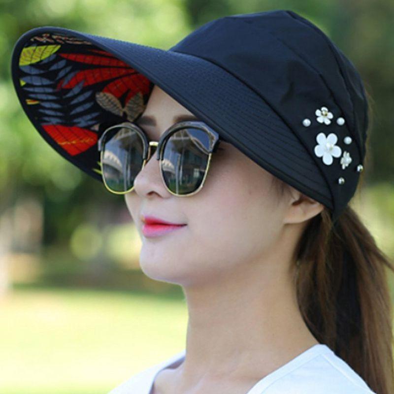 1X-Chapeau-de-soleil-Chapeau-de-plage-pliable-pour-dames-Chapeau-de-visiere-D2M9 miniature 12