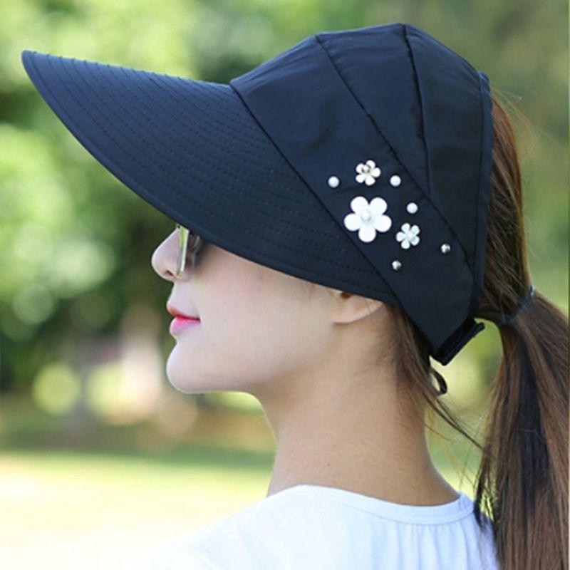 1X-Chapeau-de-soleil-Chapeau-de-plage-pliable-pour-dames-Chapeau-de-visiere-D2M9 miniature 13