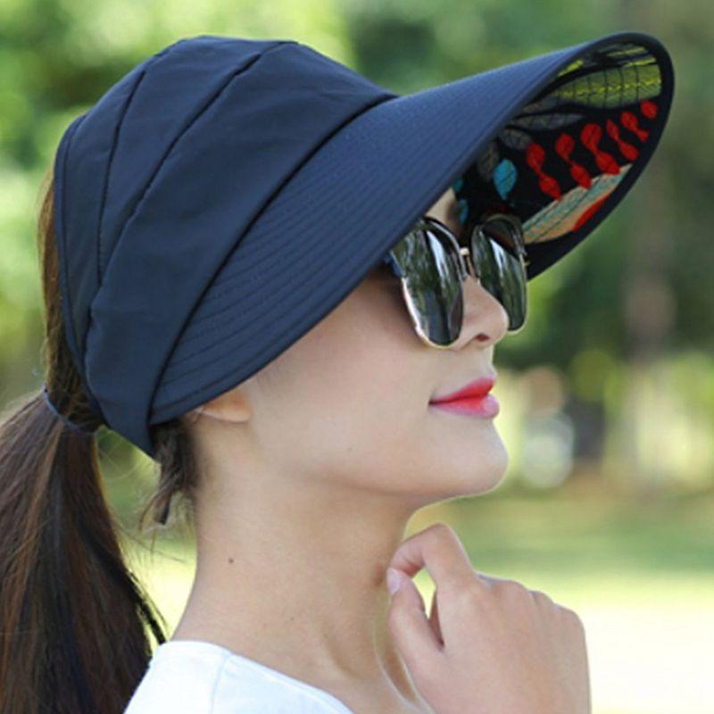 1X-Chapeau-de-soleil-Chapeau-de-plage-pliable-pour-dames-Chapeau-de-visiere-D2M9 miniature 14
