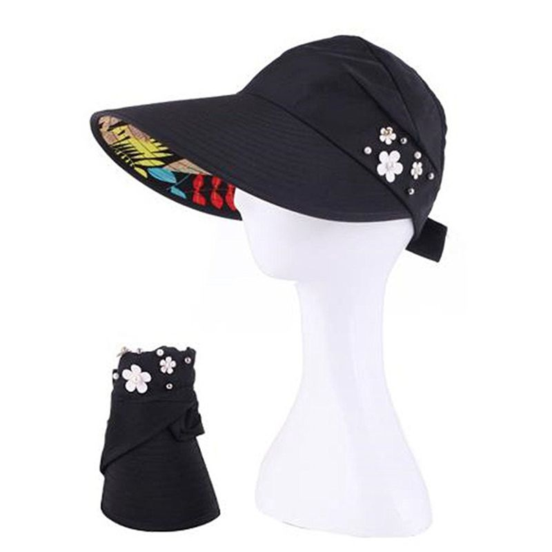 1X-Chapeau-de-soleil-Chapeau-de-plage-pliable-pour-dames-Chapeau-de-visiere-D2M9 miniature 16
