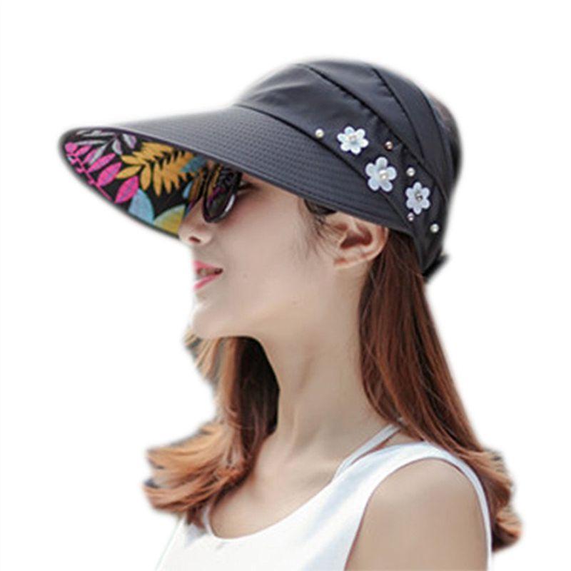 1X-Chapeau-de-soleil-Chapeau-de-plage-pliable-pour-dames-Chapeau-de-visiere-D2M9 miniature 10