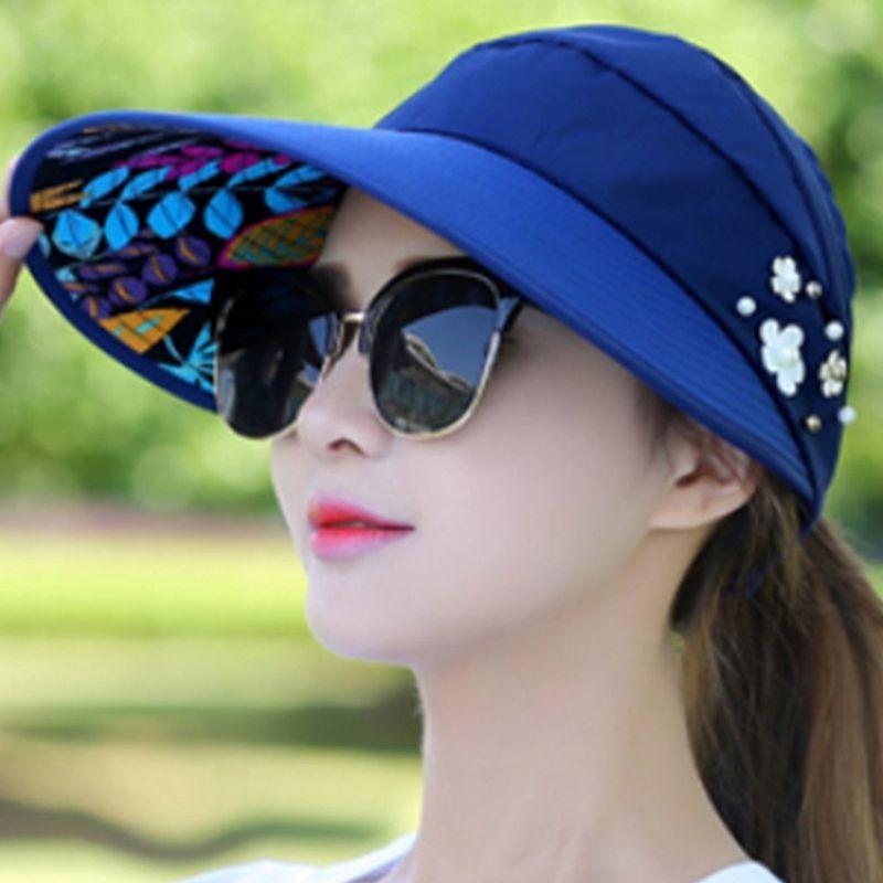 1X-Chapeau-de-soleil-Chapeau-de-plage-pliable-pour-dames-Chapeau-de-visiere-D2M9 miniature 18