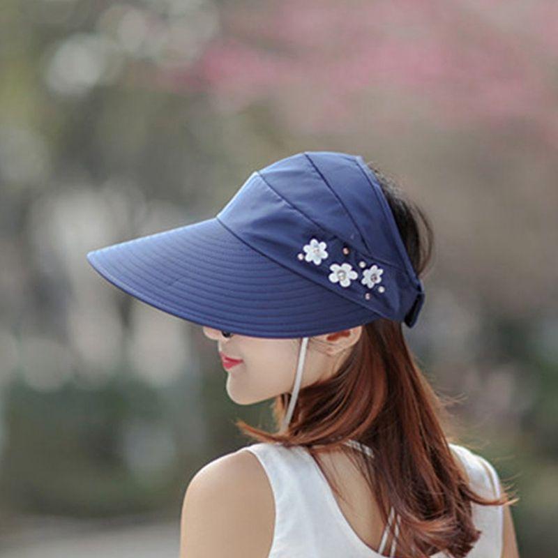 1X-Chapeau-de-soleil-Chapeau-de-plage-pliable-pour-dames-Chapeau-de-visiere-D2M9 miniature 22